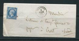 Lettre De 1862 De BRIGNOLES 78 à Destination De CREST 25- Timbre Y&T N°14B- PC 529 - 1853-1860 Napoleon III
