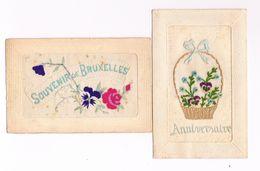 CARTE BRODEE X 2  Anniversaire  &  Souvenir De BRUXELLES - Brodées