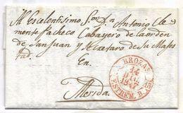 1847. Carta Prefilatélica Circulada Desde Brozas A Mérida - Espagne