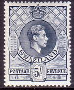 SWAZILAND 1943 SG 37a 5sh MNH Perf.13½x14 Slate CV £60 - Swasiland (...-1967)