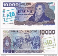 Argentina - 10 Australes On 10000 Pesos 1985 Pick 322c AUNC Lemberg-Zp - Argentina