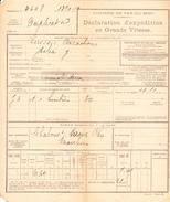 Déclaration D'exp. D'huîtres D'Arcachon, Pour Chalon-sur-Saône (1919) - Vieux Papiers