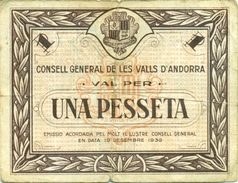 BILLET UNE PESETA ANDORRE 1936 - Andorra