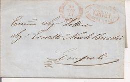 """""""STRADA FERRATA -FRANCA- LEOPOLDA"""" TIMBRO ROSSO UNITO A TIMBRO TONDO-PREFILATELICA 1859 PER EMPOLI-TESTO, - Toscana"""