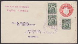 "Cover Panama Boquete Nach Bitterfeld Alemania 1929, ""Transito Panamo""-Stempel Auf Rückseite - Panama"