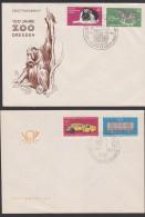 Dresden 100 Jahre Zoo, Elefant Zebra FDC DDR 1961 Und Tag Der Briefmarek 1910 - FDC: Sobres
