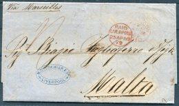 1859 GB - Malta Entire Liverpool Pothonier & Co, Ship Owners, Via Marseilles - Malta