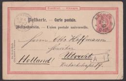 Aachen 10 Pf  Ganzsachenkarte Nach Utrecht Holland 1887 - Postwaardestukken