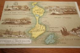 CPA Chromo Carte Hachette Les Colonies Françaises Iles De St Pierre Et Miquelon  Cap Rouge - Cartes Géographiques