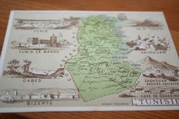 CPA Chromo Carte Hachette Les Anciennes Colonies FrançaisesTunisie Tunis  Bizerte - Cartes Géographiques