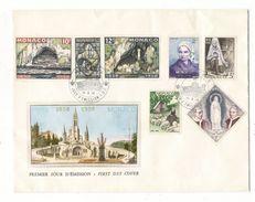 MONACO / CENTENAIRE DES APPARITIONS DE LOURDES  ( 7 Timbres Sur Grande Enveloppe ) /  Date  :  15-5-1958 - FDC
