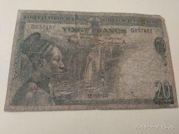 20 Francs 1953 - Belgian Congo Bank