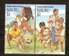 Nauru 1994 Yvertn° 392-393 *** MNH Cote 36 FF Faune Chiens Honden Dogs Hong Kong '94 - Nauru