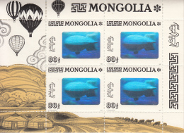 Mongolia 1993 MNH Scott #2139 Minisheet Of 4 80t Zeppelin Flight Over Ulan Bator Hologram - Mongolie