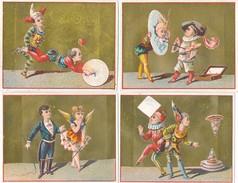 LOT / SERIE De 4 Chromos  Sur Le Cirque  ( équilibre / Clown Brouette Dompteur Peintre Palette De Couleurs ) - Autres