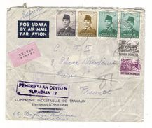 INDONESIE  /  LETTRE  AVEC  CACHETS  ( 6 Timbres Sur Enveloppe , Société SCHNEIDER ) /  Date  :  SURABAJA , Le 30-6-1960 - Indonesia