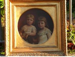 Charles Augustin Victor DOERR (1815-1894) Portrait Des Petites-filles 1878 - Oils