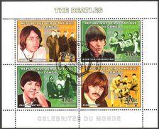 {CN01} Congo 2006 Rock Band The Beatles Sheet Used / CTO - Gebraucht
