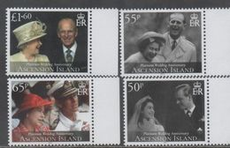 ASCENSION , 2017, MNH, QEII, PLATINUM WEDDING ANNIVERSARY, 4v - Royalties, Royals