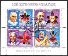 {CN15} Congo 2006 Orchids Pope Jon Paul II Dalai Lama Gandhi Mandela Sheet Used / CTO - República Democrática Del Congo (1997 - ...)