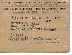 85 - MORTAGNE SUR SEVRE - ROCHARD - Carte D'immatriculation Et D'affiliation ( Caisse Sécurité Sociale De VENDEE ) 1957 - Maps