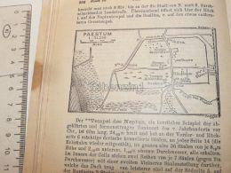 Paestum Italy Map Mappa Karte 1908 - Mappe