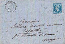 COTE DU NORD - PLEMET - T22 DU 14 OCTOBRE 1862 - EMPIRE N°14 OBLITERATION PC4053 - INDICE 15 - COTE 160€ - 1849-1876: Classic Period