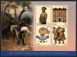 ITALIA - 2014 - 150° ANNIVERSARIO DELL'ARMA DEI CARABINIERI - SOUVENIR SHEET - NUOVO MNH - 2011-...: Nieuw/plakker