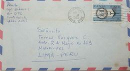 L) 1965 PANAMA, AIRPLANE, CANAL ZONE, 15C, AIR MAIL, CIRCULATED COVER FROM PANAMA TO LIMA - PERU, XF - Panama