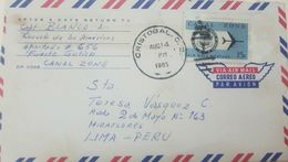 L) 1965 PANAMA, BLUE, AIRPLANE, 15C, CRISTOBAL CANAL ZONE, AIR MAIL, CIRCULATED COVER FROM PANAMA TO PERU - Panama