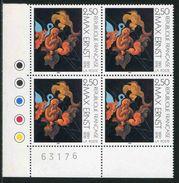 """Bloc De 4 Timbres** De 1991 """"Max Ernst"""" Avec Repères De Couleurs Originaux (Neufs Sans Charnière) - France"""