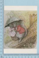 Ecureuil Humanisé 1978 - Deux Ecureuils Sous La Pluie, The Tale Of Timmi Tiptoes By Beatrix Potter - Carte Postale PostC - Animaux Habillés