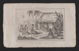 Years 1840s ART ANTIQUE PRINT TONGA Witchcraft Spirits Medicine DANVIN DEL - Tonga