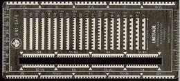 Uni-Safe Metal UNITRADE Postage Stamp Perforation Gauge With Slot - Stamps