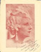 Photo Dédicacée 1934 D'Hermine Gatti De L'Opéra Comique - Studio L. Aicard - Fotos Dedicadas