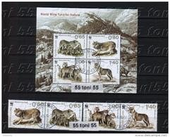Bulgaria/ Bulgarie 2015, WWF - Eurasian Wolf 4v.+ S/S - Used/oblitere (O) - Bulgaria
