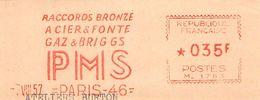 FLAMME EMA OBLITERATION MECANIQUE FRAGMENT PUBLICITAIRE RACCORDS BRONZE PLOMBERIE PMS PARIS 1957 - Storia Postale