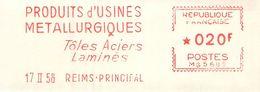 FLAMME EMA OBLITERATION MECANIQUE FRAGMENT PUBLICITE PRODUITS METALLURGIQUES REIMS 1958 - Storia Postale
