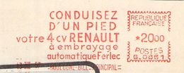 FLAMME EMA OBLITERATION MECANIQUE PUBLICITE RENAULT 4 VITESSE AUTOMATIQUE 1957 - Storia Postale