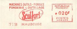 FLAMME EMA OBLITERATION MECANIQUE FRAGMENT PUBLICITE MACHINE OUTILS FORGES SCULFORT MAUBEUGE 1958 - Storia Postale