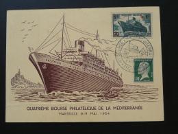Carte Maximum Card Paquebot Pasteur Marseille 1954 (pliée En Bas) - Bateaux