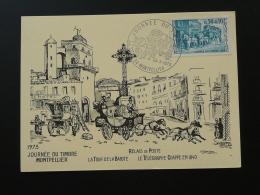 Carte Maximum Card Diligence Telegrahe Chappe Cheval Horse Journée Du Timbre 1973 Montpellier 34 Herault - Diligences
