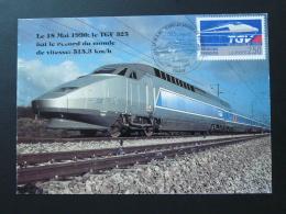 Carte Maximum Card Train TGV Record Du Monde Paris 1990 - Treni