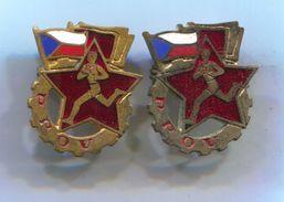 CZECH REPUBLIC / PPOV - Working Bodies, Communist Party, Vintage Pin, Badge, Abzeichen, Enamel, 2 Pcs - Associations