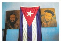 Portraits Che Guevara Et Camilo Cienfuegos Drapeau De Cuba - Villa Clara (Prov.) - Photo Henk Van Der Leeden - Personnages