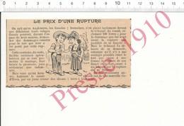 Presse 1910 Humour Féminisme Coutume Comté D'Essex Indemnité Rupture Thème Fiançailles Fiancés Divorce Tribunal 216PF10D - Old Paper