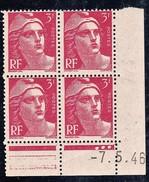 France YT 716 Gandon CD 07/05/46 N** MNH - Coins Datés