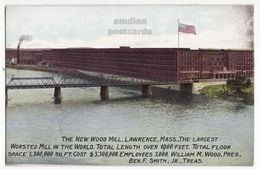 LAWRENCE MA - NEW WOOD MILL LARGEST WORSTED MILL IN WORLD C1900s Vintage Massachusetts Postcard M8967 - Lawrence