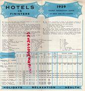 29- BREST-DAOULAS-BRIGNOGAN-CONQUET-ILE MOLENE-LESNEVEN-PLOUGASTEL-PORSPODER-ILE OUESSANT-DEPLIANT HOTELS 1959 - Dépliants Touristiques