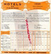 29- BANNALEC-BRIGNEAU-DOELAN-KERFANY-MOELAN-ROSPORDEN-LE POULDU-KERFANY-QUIMPERLE-RIEC SUR BELON-DEPLIANT HOTELS 1959 - Dépliants Touristiques
